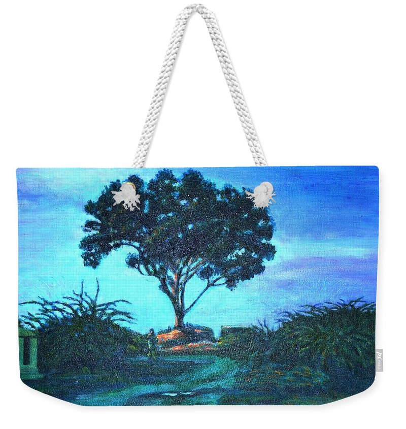 Lonely Weekender Tote Bag featuring the painting Lonely Giant Tree by Usha Shantharam