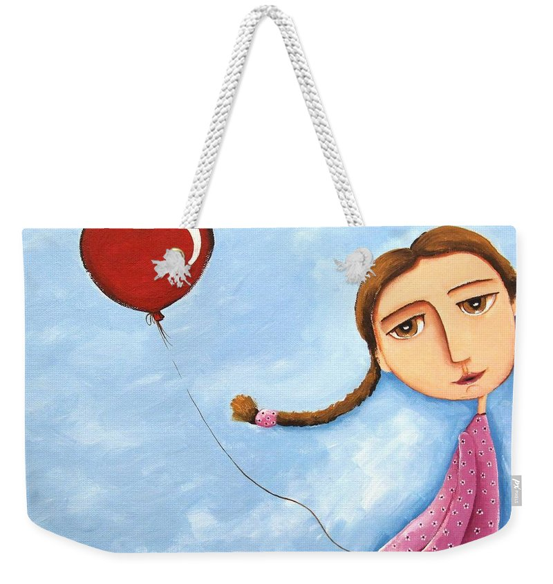 Lucia Stewart Weekender Tote Bag featuring the painting Lonely Girl by Lucia Stewart