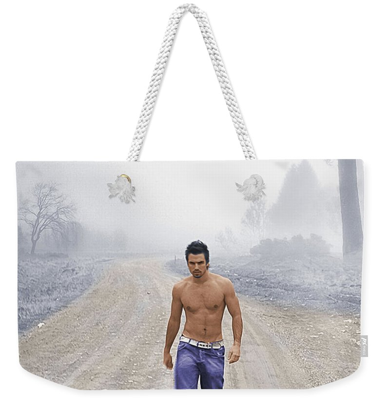 Austin Weekender Tote Bag featuring the painting Lonely Road by Troy Caperton