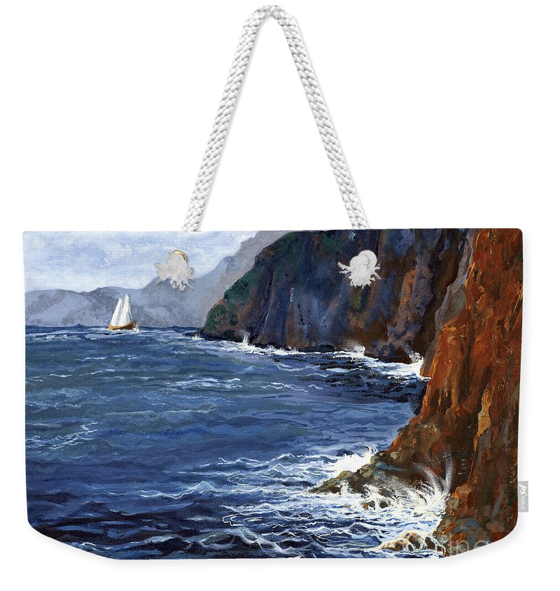 Landscape Weekender Tote Bag featuring the painting Lonely Schooner by Mary Palmer