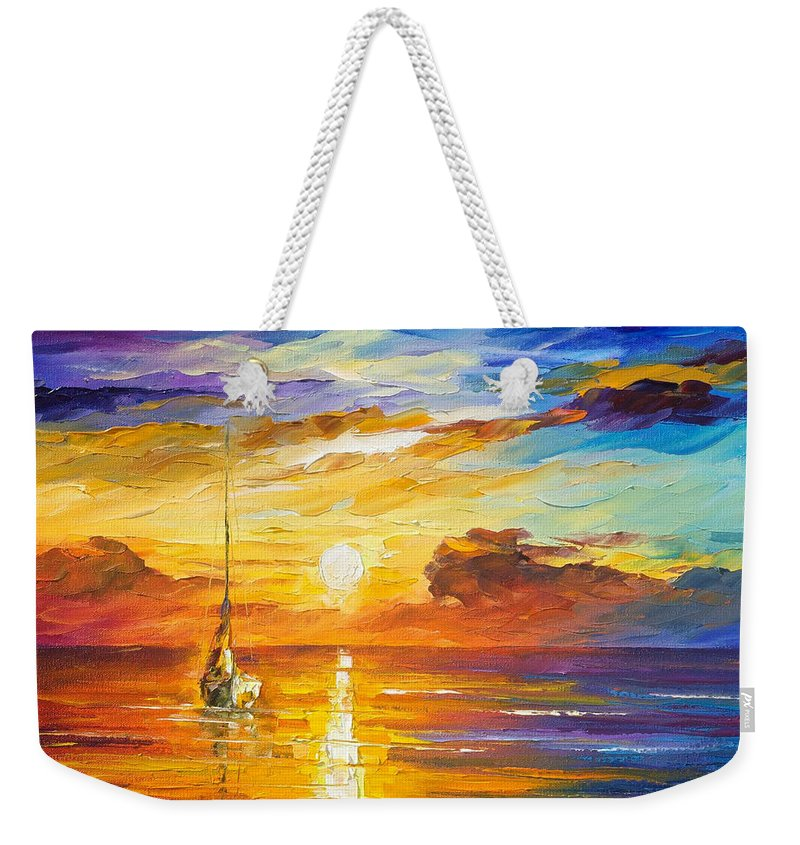 Oil Paintings Weekender Tote Bag featuring the painting Lonely Sea 2 - Palette Knife Oil Painting On Canvas By Leonid Afremov by Leonid Afremov