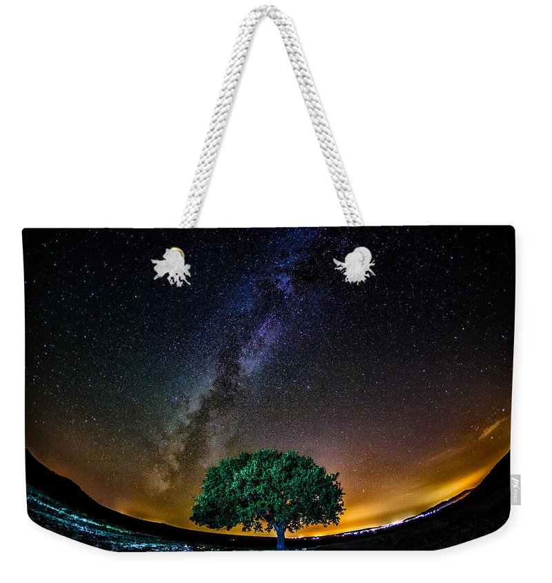 Tree Weekender Tote Bag featuring the pyrography Lonely Tree by Cristi Munteanu