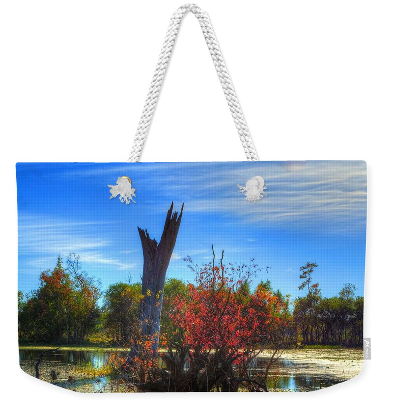 Swamp Weekender Tote Bag featuring the photograph Lonely Tree by David Morefield