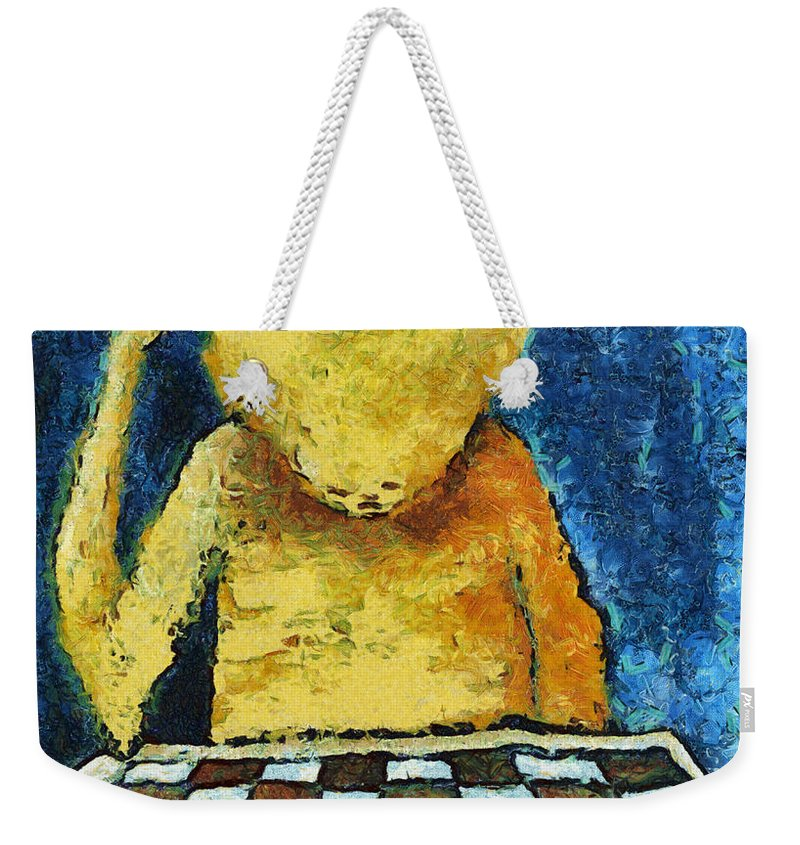 Alone Weekender Tote Bag featuring the digital art Lonesome Chess Player by Michal Boubin