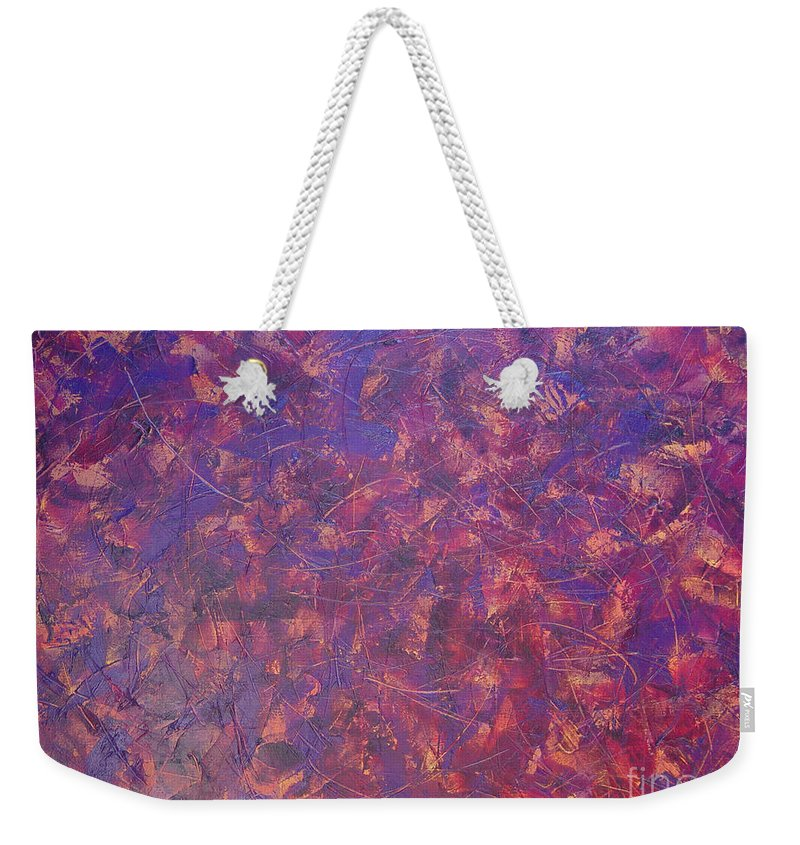 Abstract Weekender Tote Bag featuring the painting Long Beach 5am by Dean Triolo
