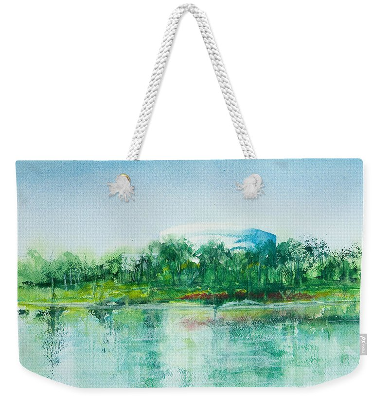Watercolor Weekender Tote Bag featuring the painting Long Beach Convention Center Arena by Debbie Lewis