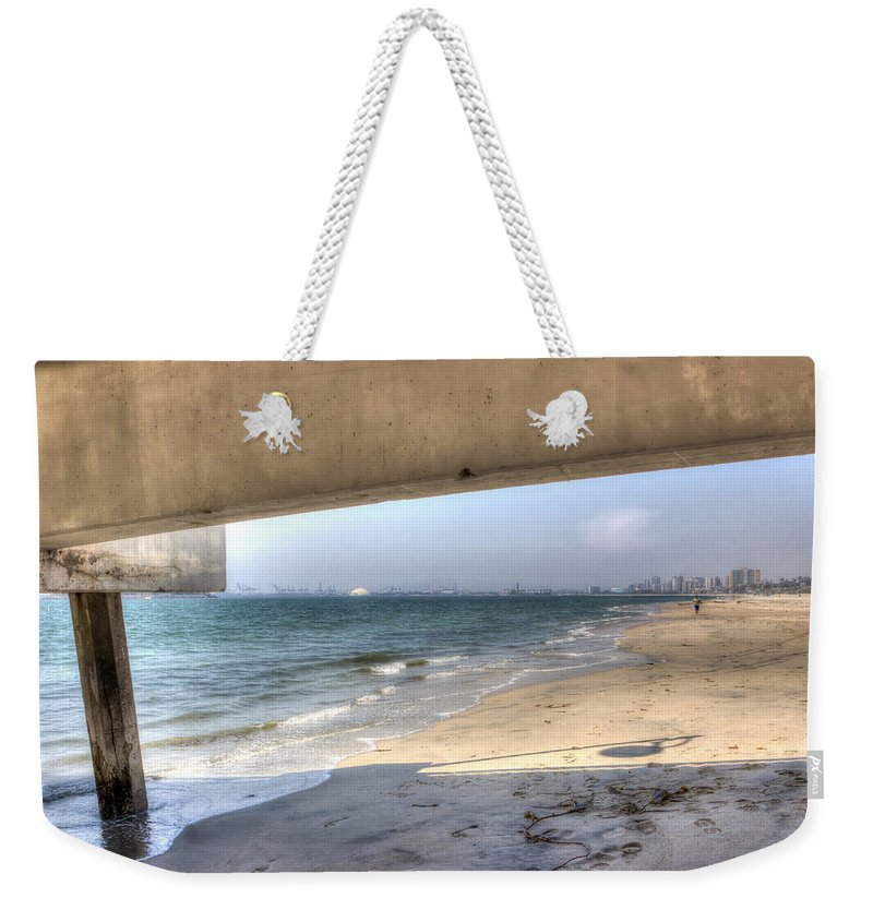City Weekender Tote Bag featuring the photograph Long Beach From Beneath The Pier by Heidi Smith