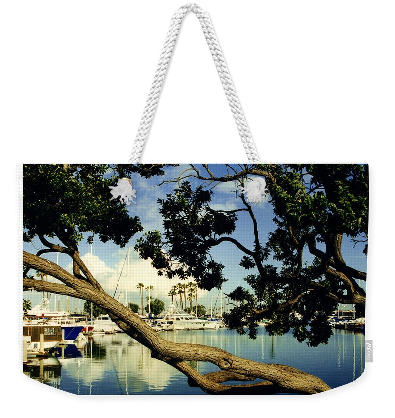 Long Beach Weekender Tote Bag featuring the photograph Long Beach Marina by Jack Pumphrey