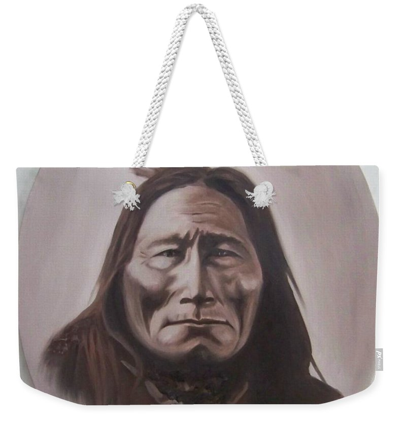 Michael Weekender Tote Bag featuring the painting Long Bear by Michael TMAD Finney
