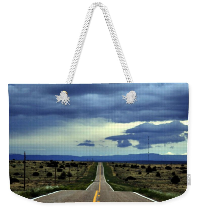 Landscape Weekender Tote Bag featuring the photograph Long Highway by Pam Romjue