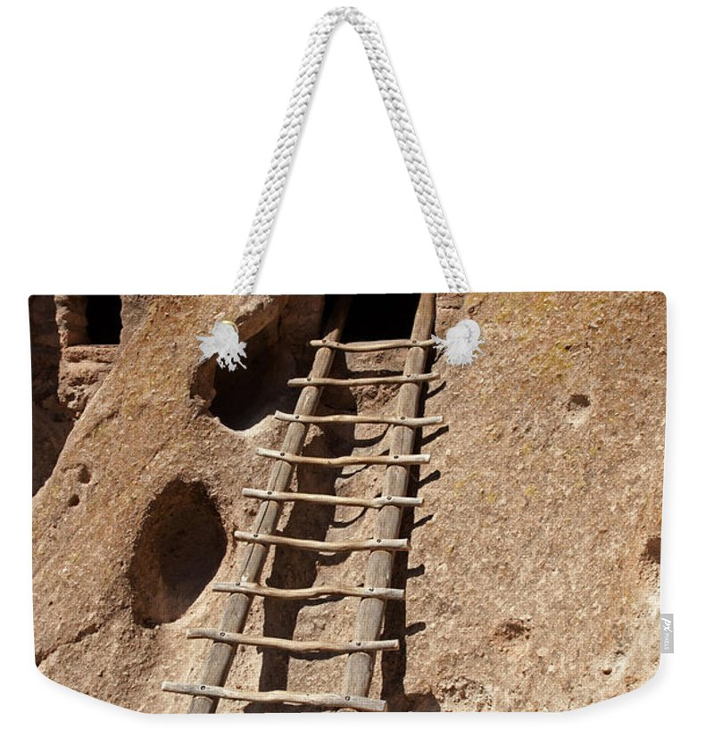 Afternoon Weekender Tote Bag featuring the photograph Long House Front Door Bandelier National Monument by Fred Stearns
