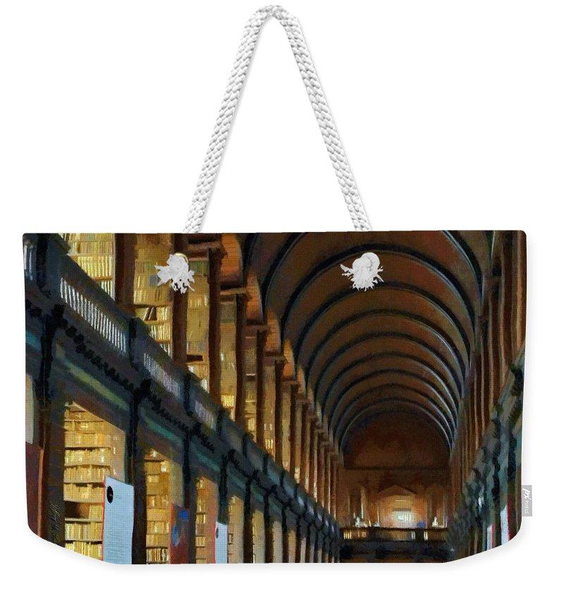 Dublin Weekender Tote Bag featuring the painting Long Room by Jeffrey Kolker