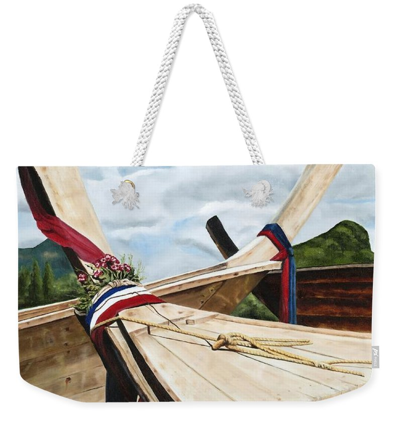 Art Weekender Tote Bag featuring the painting Long Tail Boats Of Krabi by Mary Rogers