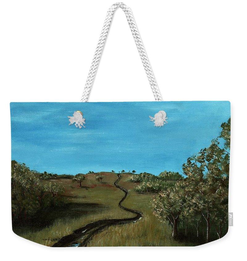 Malakhova Weekender Tote Bag featuring the painting Long Trail by Anastasiya Malakhova