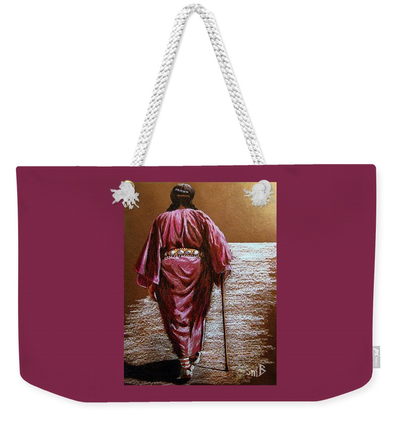 Native American Weekender Tote Bag featuring the painting Long Walk Home by Susan Bergstrom
