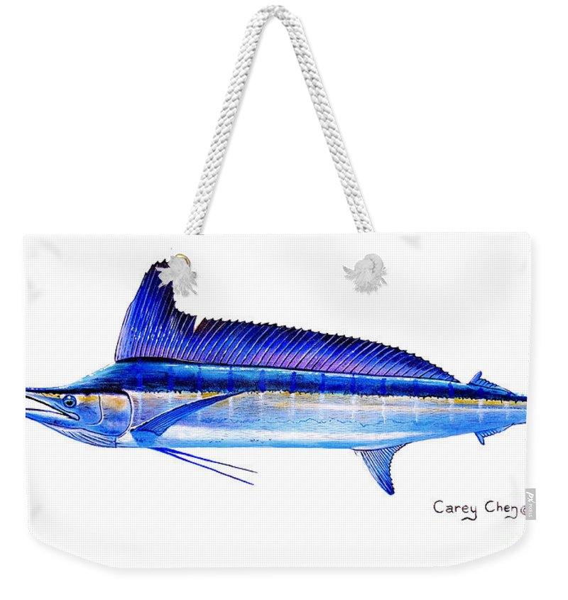Spearfish Weekender Tote Bag featuring the painting Longbill Spearfish by Carey Chen