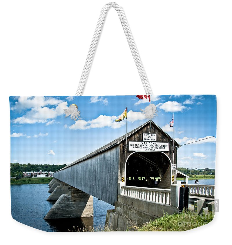 Weekender Tote Bag featuring the photograph Longest Covered Bridge by Cheryl Baxter