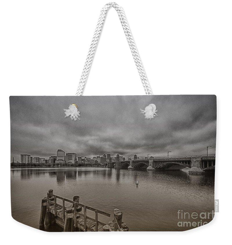 Longfellow Bridge Weekender Tote Bag featuring the photograph Longfellow Bridge Boston V8 by Douglas Barnard