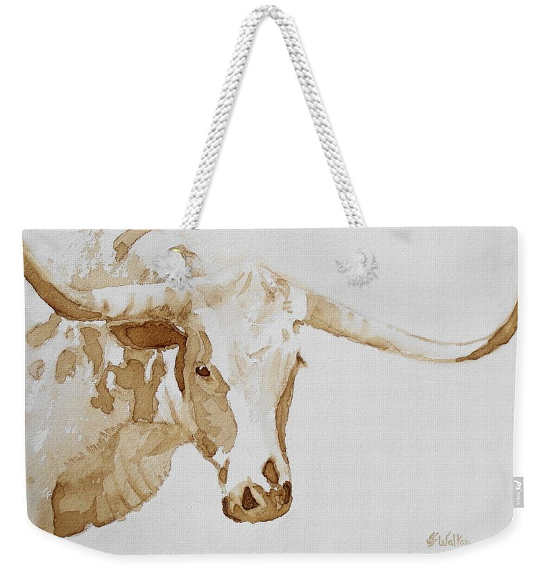 Coffee Weekender Tote Bag featuring the painting Longhorn by Judy Fischer Walton