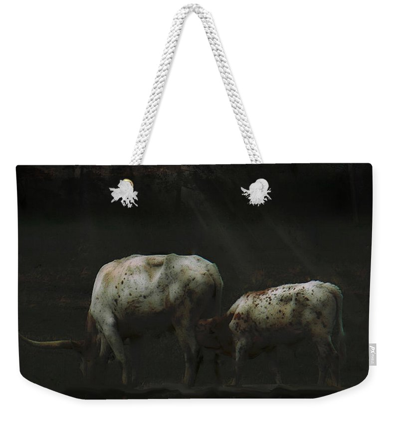 Tn Weekender Tote Bag featuring the photograph Longhorns Reflections At The Pond by Ericamaxine Price