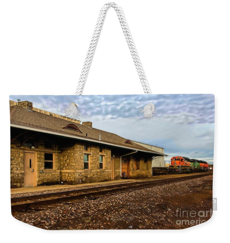 Longmont Weekender Tote Bag featuring the photograph Longmont Depot by Jon Burch Photography