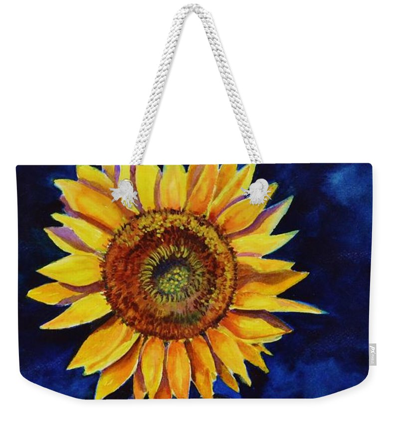 Sun Weekender Tote Bag featuring the painting Midnight Sunflower by Jane Ricker