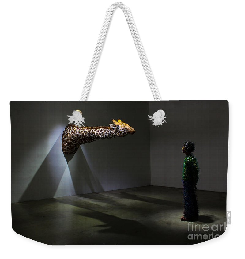 Giraffe Weekender Tote Bag featuring the photograph Look At You Looking At Me by Rene Triay Photography