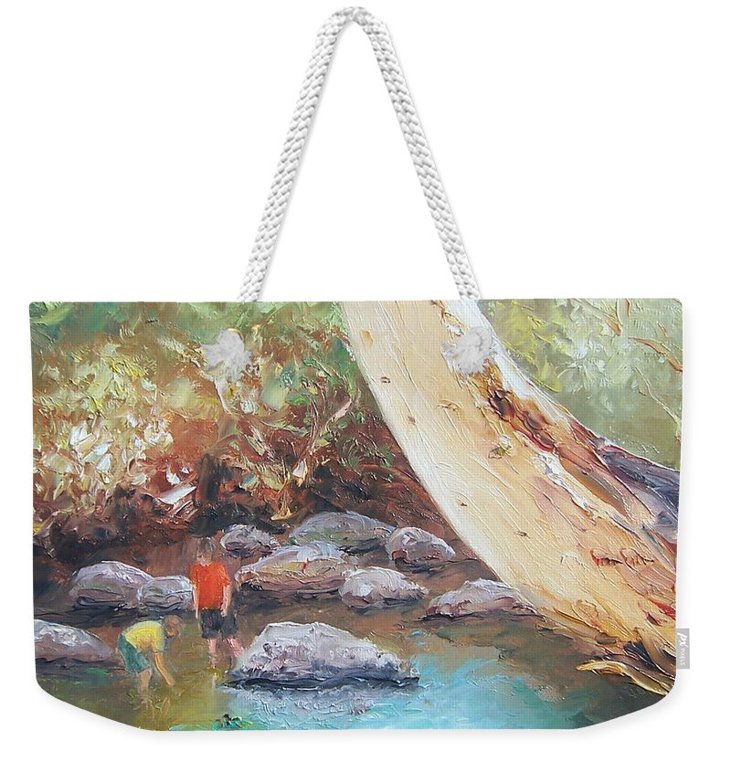 Landscape Weekender Tote Bag featuring the painting Looking For Tad Poles by Jan Matson