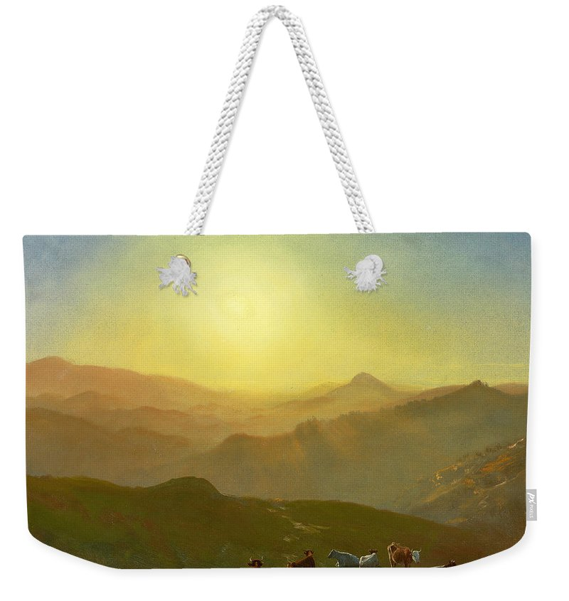 Weekender Tote Bag featuring the painting Looking From The Shade On Clay Hill .sunset Clay Street Hill San Francisco by Albert Bierstadt