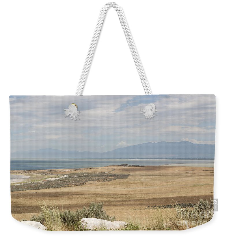 Lake Weekender Tote Bag featuring the photograph Looking North From Antelope Island by Belinda Greb