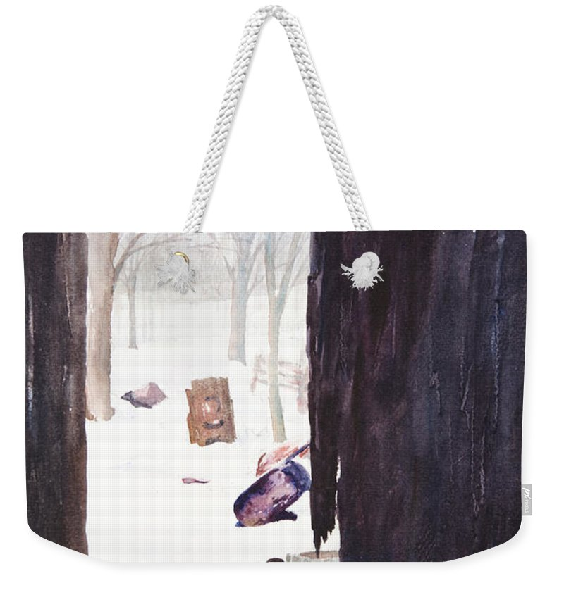 Landscape Weekender Tote Bag featuring the painting Looking Out Looking In by Rachel Christine Nowicki
