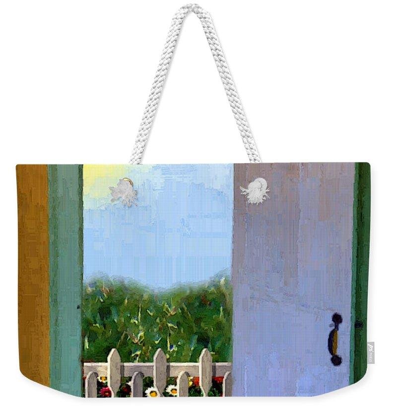 Door Weekender Tote Bag featuring the painting Looking Out My Back Door by RC DeWinter