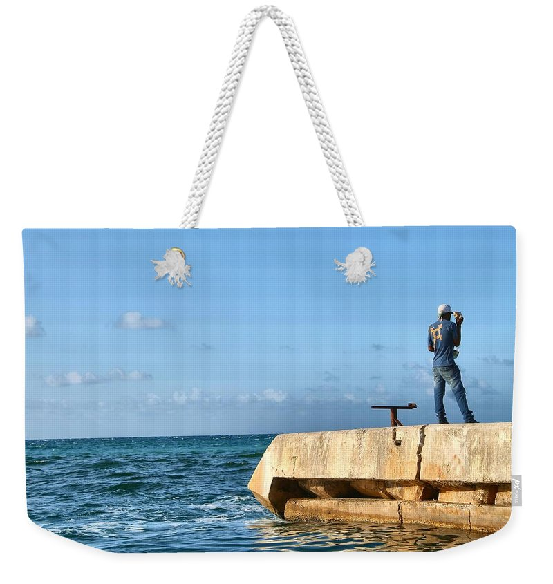 Water Weekender Tote Bag featuring the photograph Looking Out To Sea by Debbie Levene