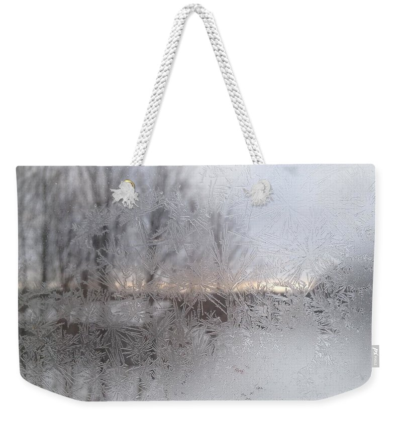 Ice Weekender Tote Bag featuring the photograph Looking Through The Frost IIi by Tiffany Erdman