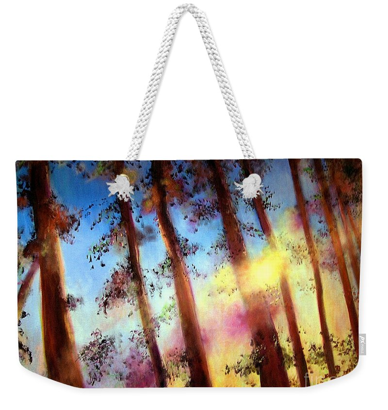 Trees Weekender Tote Bag featuring the painting Looking Through The Trees by Alison Caltrider