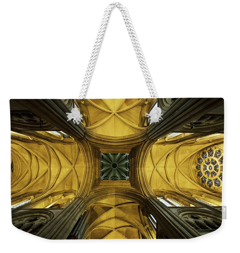 Arch Weekender Tote Bag featuring the photograph Looking Up At A Cathedral Ceiling by James Ingham / Design Pics