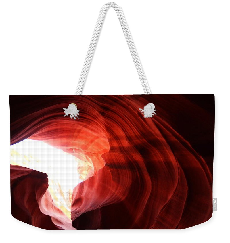 Desert Weekender Tote Bag featuring the photograph Looking Up Through Antelope Canyon by Jeff Swan