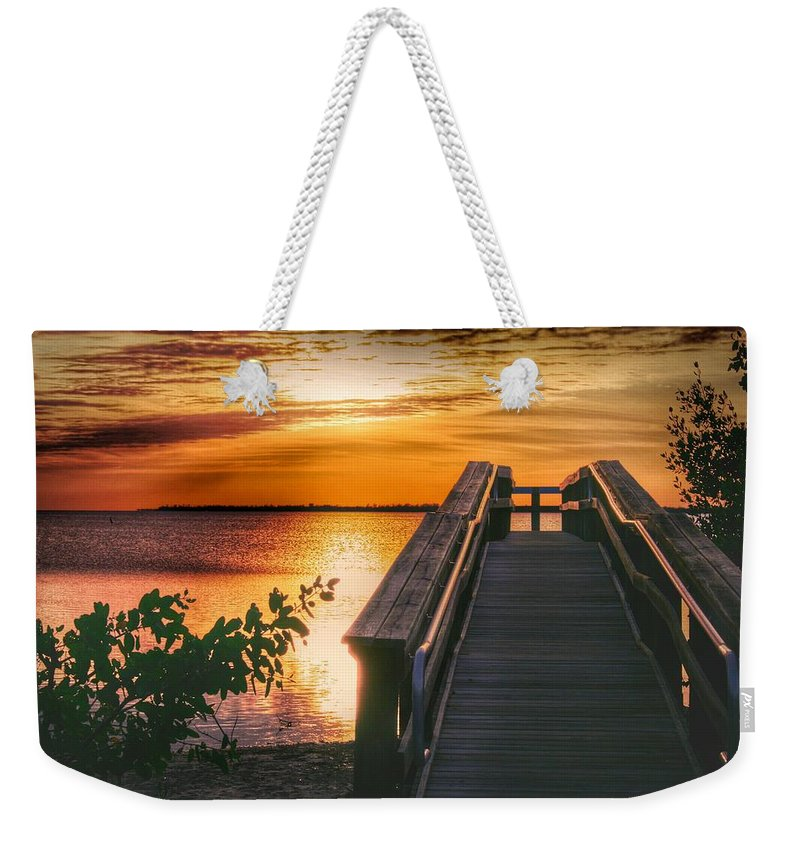 Sunset Weekender Tote Bag featuring the photograph Lookout by Jeannine Rose