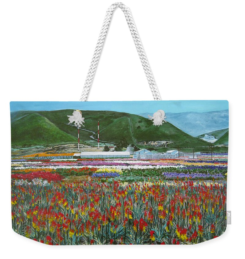 Flowers Weekender Tote Bag featuring the painting Lookout Point by Angie Hamlin