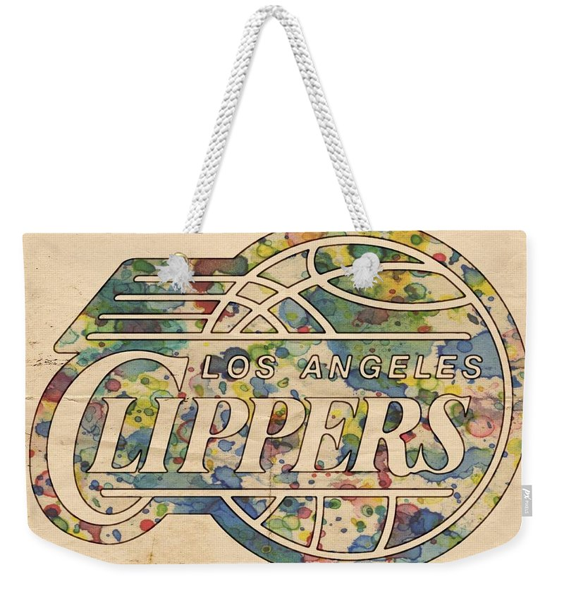 Los Angeles Clippers Weekender Tote Bag featuring the painting Los Angeles Clippers Poster Art by Florian Rodarte