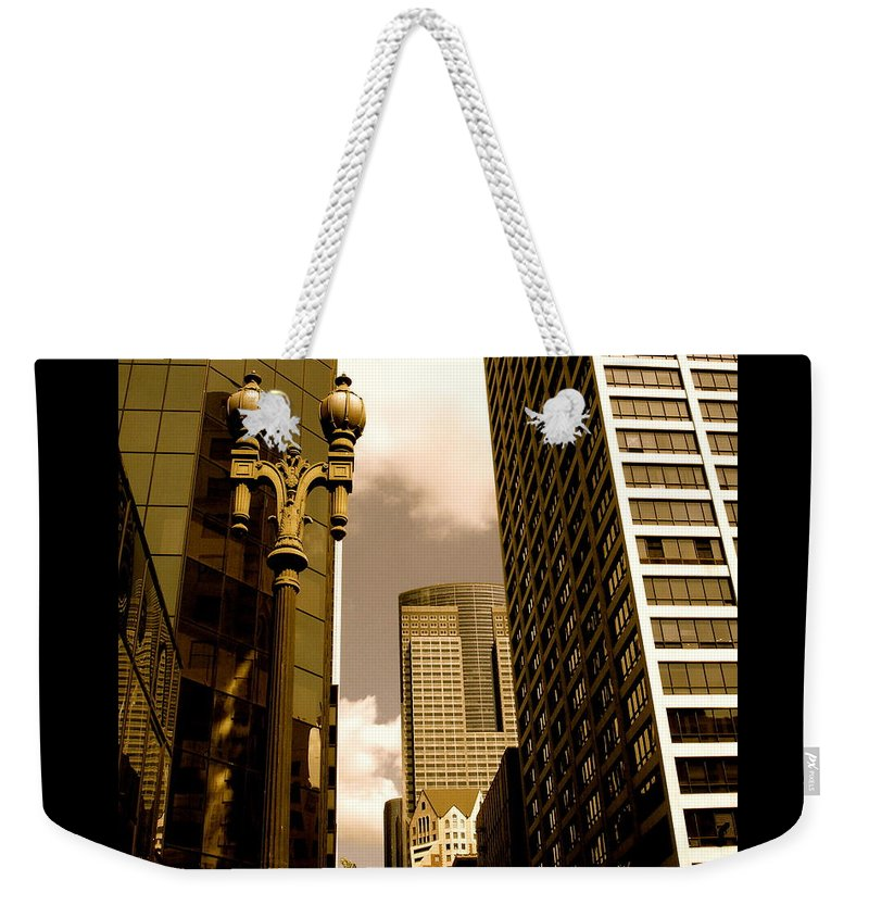 Los Angeles Prints Weekender Tote Bag featuring the photograph Los Angeles Downtown by Monique's Fine Art