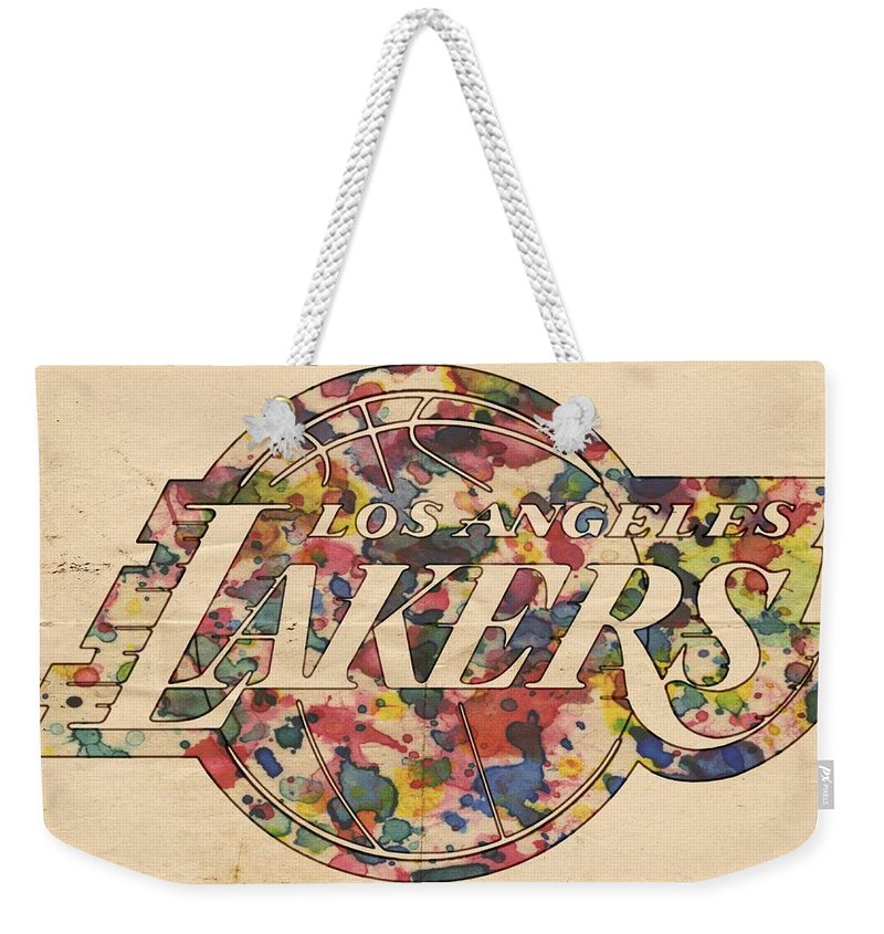 Los Angeles Lakers Weekender Tote Bag featuring the painting Los Angeles Lakers Poster Art by Florian Rodarte