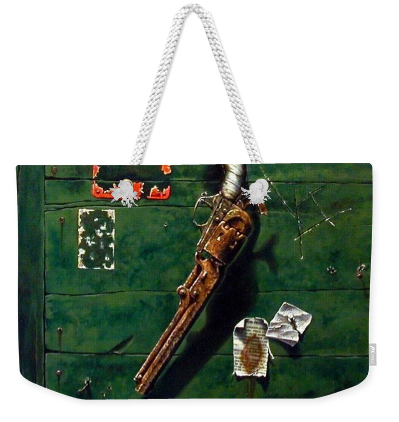 Trompe Le Oil Weekender Tote Bag featuring the painting Lost And Found by Jim Gola