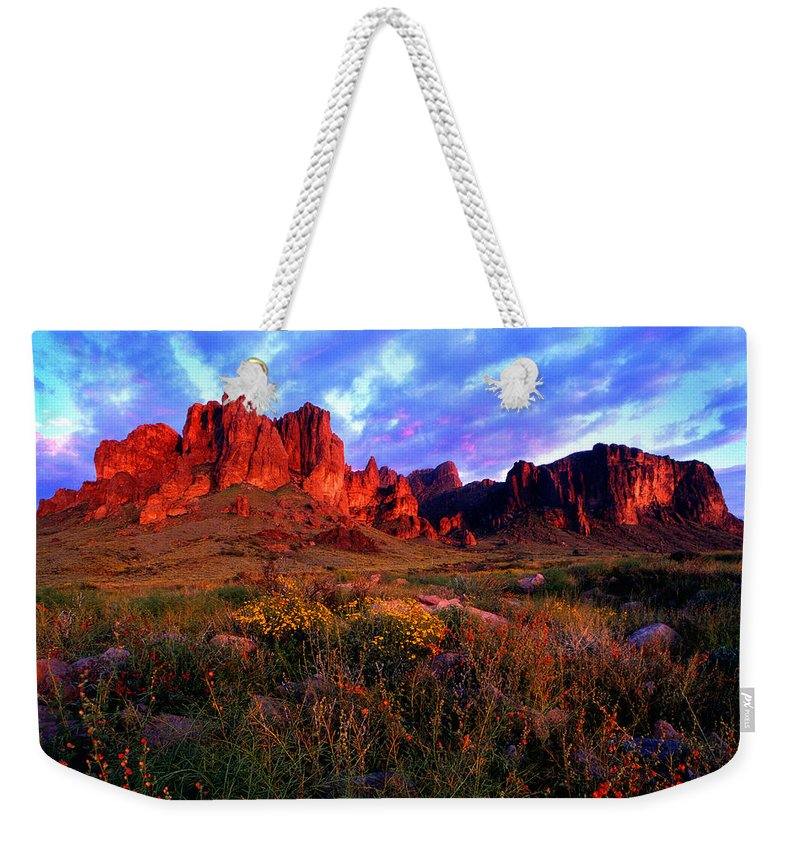 Landscape Desert Arizona Superstitions Wilderness Tonto National Forest Apache Junction Arizona Phoenix Arizona Mesa Arizona Gilbert Arizona Spring Flowers Sunset Flat Iron Arizona Sunset Apache Trail Lost Dutchman Mine Weekender Tote Bag featuring the photograph Lost Dutchmans State Park Arizona by Reed Rahn