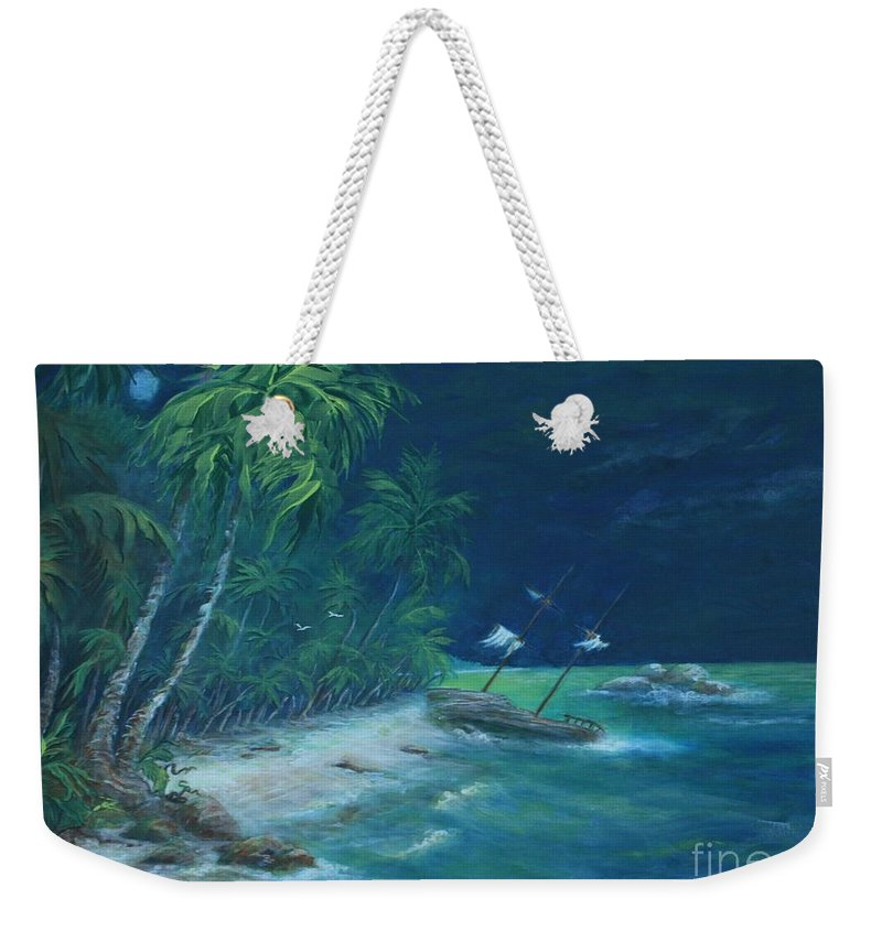 Island Weekender Tote Bag featuring the painting Lost Island by William Bezik