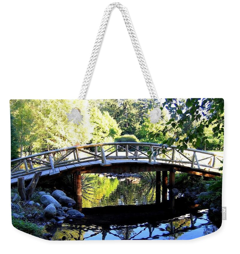 Lost Lagoon Bridge Weekender Tote Bag featuring the photograph Lost Lagoon Bridge by Will Borden