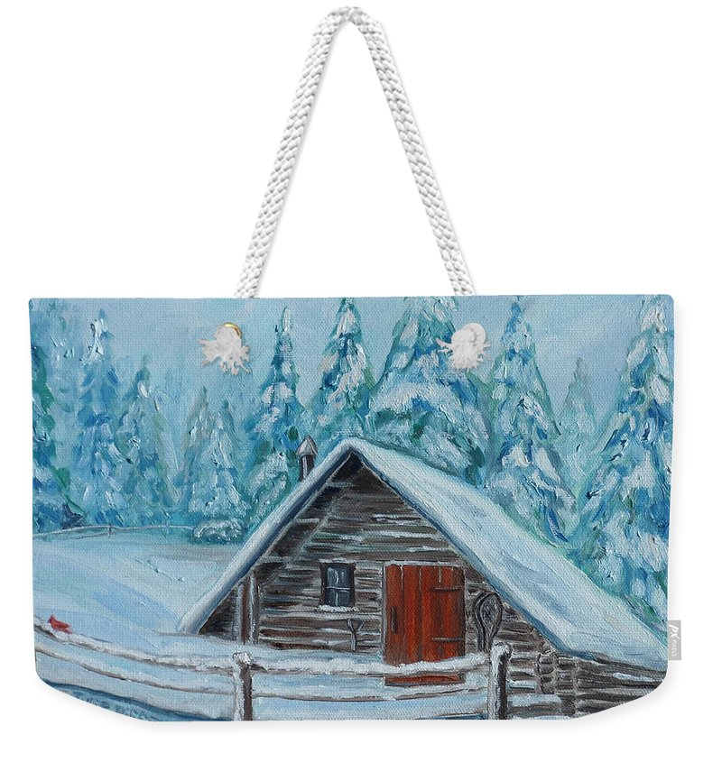 Cabin Weekender Tote Bag featuring the painting Lost Mountain Cabin by Julie Brugh Riffey