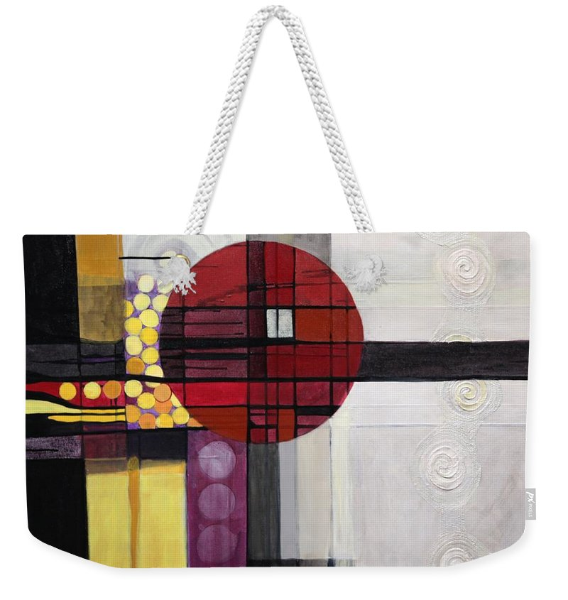Abstract Weekender Tote Bag featuring the painting Lost My Marbles by Marlene Burns