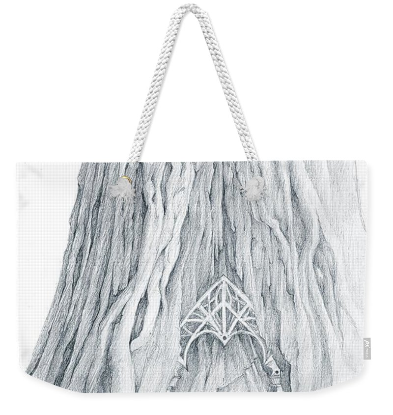 Lothlorien Weekender Tote Bag featuring the drawing Lothlorien Mallorn Tree by Curtiss Shaffer