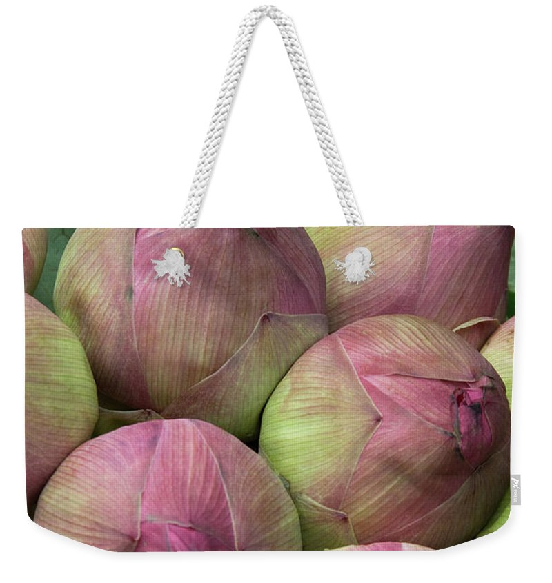 Bunch Weekender Tote Bag featuring the photograph Lotus Buds by Rick Piper Photography